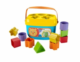 Fisher-Price FFC84 - Babys Erste Bausteine Baby Spielzeug Formensortierspiel mit Spielwürfeln und Eimer zum Verstauen ab 6 Monaten - 1