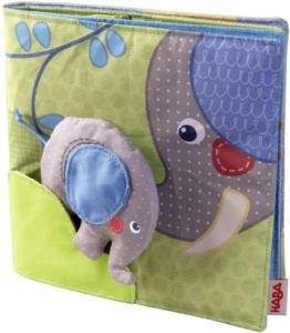 Haba 300146 - Stoffbuch Elefant Egon, weiches Knisterbuch mit vielen Fühl- und Spieleffekten, wunderschön gestaltetes Babyspielzeug ab 6 Monaten - 1