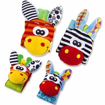 Hmjunboys Baby Rasseln Spielzeug Handgelenk Und Socken, Plüschtiere Entwicklungs-Spielzeug für Neugeborene, Mädchen und Jungen, Baby Geschenk Mehrfarbig (2 Hände Rasseln + 2 Socken Rasseln) - 2