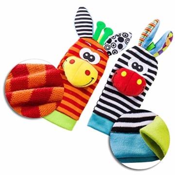 Hmjunboys Baby Rasseln Spielzeug Handgelenk Und Socken, Plüschtiere Entwicklungs-Spielzeug für Neugeborene, Mädchen und Jungen, Baby Geschenk Mehrfarbig (2 Hände Rasseln + 2 Socken Rasseln) - 3