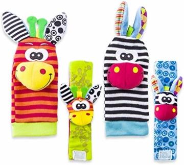 Hmjunboys Baby Rasseln Spielzeug Handgelenk Und Socken, Plüschtiere Entwicklungs-Spielzeug für Neugeborene, Mädchen und Jungen, Baby Geschenk Mehrfarbig (2 Hände Rasseln + 2 Socken Rasseln) - 4