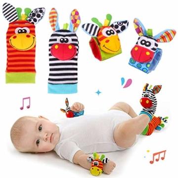 Hmjunboys Baby Rasseln Spielzeug Handgelenk Und Socken, Plüschtiere Entwicklungs-Spielzeug für Neugeborene, Mädchen und Jungen, Baby Geschenk Mehrfarbig (2 Hände Rasseln + 2 Socken Rasseln) - 1