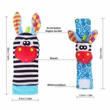 Hmjunboys Baby Rasseln Spielzeug Handgelenk Und Socken, Plüschtiere Entwicklungs-Spielzeug für Neugeborene, Mädchen und Jungen, Baby Geschenk Mehrfarbig (2 Hände Rasseln + 2 Socken Rasseln) - 5