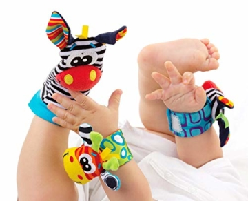 Hmjunboys Baby Rasseln Spielzeug Handgelenk Und Socken, Plüschtiere Entwicklungs-Spielzeug für Neugeborene, Mädchen und Jungen, Baby Geschenk Mehrfarbig (2 Hände Rasseln + 2 Socken Rasseln) - 6