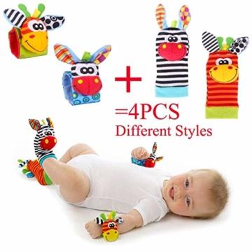 Hmjunboys Baby Rasseln Spielzeug Handgelenk Und Socken, Plüschtiere Entwicklungs-Spielzeug für Neugeborene, Mädchen und Jungen, Baby Geschenk Mehrfarbig (2 Hände Rasseln + 2 Socken Rasseln) - 7