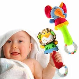 HUADADA Greifling zum Rasseln,Cartoon Tier Rassel Kleinkind Spielzeug weiche Flock Stoff mit Klingel Glocke. rassel für Babys und Kleinkinder ab 3 -12 Monaten.(Löwe, Elefant) - 1