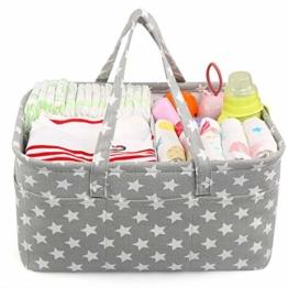 LEADSTAR Baby Windel Caddy Tragbar Organizer Multifunktionale Wickeltasche Aufbewahrungsbox Caddy für Windeln, Baby Tücher,Kid Spielzeug,Baby Dusche Geschenk Korb (Grau Star) - 1