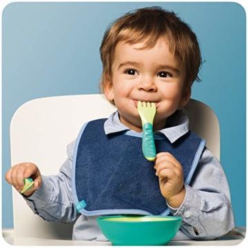 MAM Esslernbesteck bestehend aus Messer, Gabel & Löffel, 3-teiliges Besteck Set mit rutschfesten Griffen, sicheres Baby Besteck für Links- und Rechtshänder, ab 6+ Monate, grün - 2