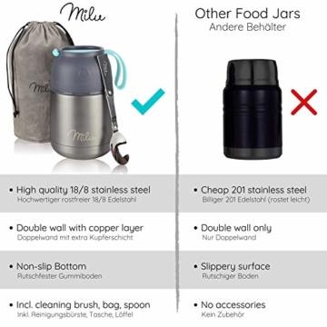 Milu® Thermobehälter Lunchbox 450, 650ml | Edelstahl Isolierbehälter Gefäß für warme Speißen, Essen, Babynahrung, Suppe, Obst | Behälter Box für Baby | Speisegefäß | Thermogefäß | (Grau/Blau, 450ml) - 4