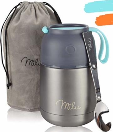 Milu® Thermobehälter Lunchbox 450, 650ml | Edelstahl Isolierbehälter Gefäß für warme Speißen, Essen, Babynahrung, Suppe, Obst | Behälter Box für Baby | Speisegefäß | Thermogefäß | (Grau/Blau, 450ml) - 1