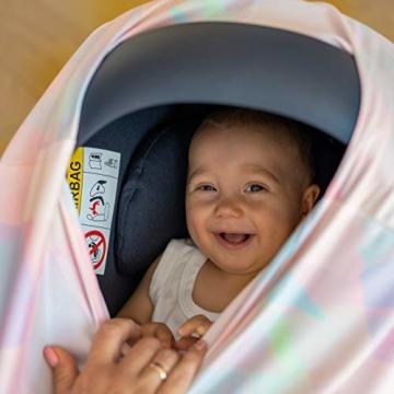 NatureBond Stillschutz Stillen | Atmungsaktiver und sicherster Baumwollbezug Mehrzweck für Baby Autositzbezüge Baldachin Einkaufswagenbezug Schal Licht Decke Kinderwagen (Sunrise Pink) - 3