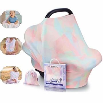 NatureBond Stillschutz Stillen | Atmungsaktiver und sicherster Baumwollbezug Mehrzweck für Baby Autositzbezüge Baldachin Einkaufswagenbezug Schal Licht Decke Kinderwagen (Sunrise Pink) - 1