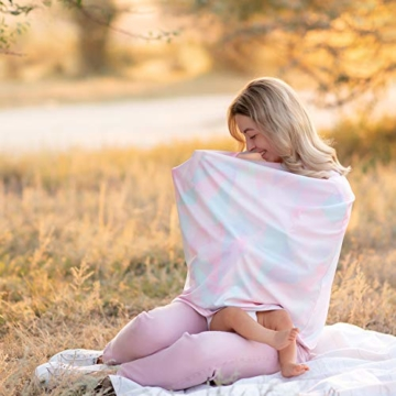NatureBond Stillschutz Stillen | Atmungsaktiver und sicherster Baumwollbezug Mehrzweck für Baby Autositzbezüge Baldachin Einkaufswagenbezug Schal Licht Decke Kinderwagen (Sunrise Pink) - 8