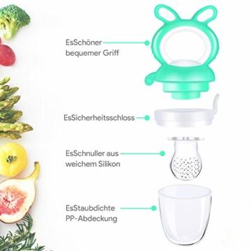 Oladwolf Fruchtsauger Baby & Kleinkind, Silikon Schnuller Beißring ab 3 Monate, BPA frei Obstsauger Baby mit 3 Größen Sauger Ersatz für Obst, Beikost, Baby Essen, Gemüse und Zahnungshilfe Baby, Grün - 4