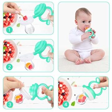 Oladwolf Fruchtsauger Baby & Kleinkind, Silikon Schnuller Beißring ab 3 Monate, BPA frei Obstsauger Baby mit 3 Größen Sauger Ersatz für Obst, Beikost, Baby Essen, Gemüse und Zahnungshilfe Baby, Grün - 6