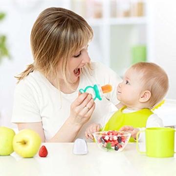Oladwolf Fruchtsauger Baby & Kleinkind, Silikon Schnuller Beißring ab 3 Monate, BPA frei Obstsauger Baby mit 3 Größen Sauger Ersatz für Obst, Beikost, Baby Essen, Gemüse und Zahnungshilfe Baby, Grün - 8