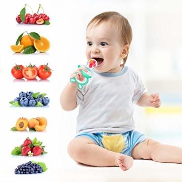 Oladwolf Fruchtsauger Baby & Kleinkind, Silikon Schnuller Beißring ab 3 Monate, BPA frei Obstsauger Baby mit 3 Größen Sauger Ersatz für Obst, Beikost, Baby Essen, Gemüse und Zahnungshilfe Baby, Grün - 9