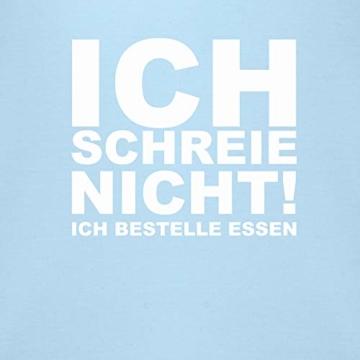 Shirtracer Sprüche Baby - Ich Schreie Nicht, ich bestelle Essen! - 3/6 Monate - Babyblau - Baby Strampler lustig - BZ10 - Baby Body Kurzarm für Jungen und Mädchen - 2