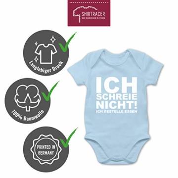 Shirtracer Sprüche Baby - Ich Schreie Nicht, ich bestelle Essen! - 3/6 Monate - Babyblau - Baby Strampler lustig - BZ10 - Baby Body Kurzarm für Jungen und Mädchen - 6