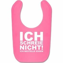 Shirtracer Sprüche Baby - Ich schreie nicht, ich bestelle Essen! - Unisize - Pink - babygeschenke geburt - BZ12 - Baby Lätzchen Baumwolle - 1