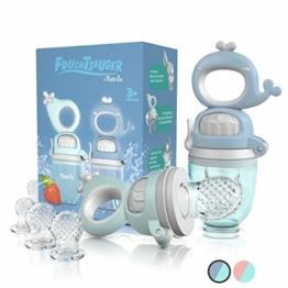 TABRIX® Fruchtsauger Baby ab 3 Monate & Kleinkind (2x) - Zahnungshilfe Baby mit Druckfunktion für Beikost -BPA-Frei- Alternative für Schnuller/Beißring Baby - Baby Geschenk - Baby Essen Zubehör - 1