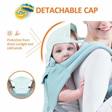 TOPERSUN Babytrage All In One Kindertrage Bauchtrage 3-Positionen Rückentrage Ergonomische Babytragetasche Baby Trage verstellbar für Neugeborene Babys Kleinkind von 0 bis 36 kg Blau - 2