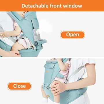 TOPERSUN Babytrage All In One Kindertrage Bauchtrage 3-Positionen Rückentrage Ergonomische Babytragetasche Baby Trage verstellbar für Neugeborene Babys Kleinkind von 0 bis 36 kg Blau - 3