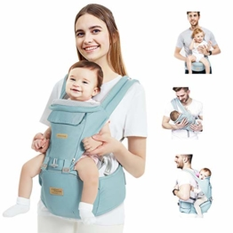 TOPERSUN Babytrage All In One Kindertrage Bauchtrage 3-Positionen Rückentrage Ergonomische Babytragetasche Baby Trage verstellbar für Neugeborene Babys Kleinkind von 0 bis 36 kg Blau - 1