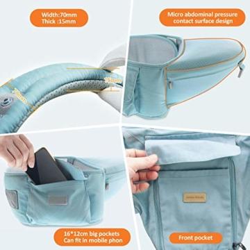 TOPERSUN Babytrage All In One Kindertrage Bauchtrage 3-Positionen Rückentrage Ergonomische Babytragetasche Baby Trage verstellbar für Neugeborene Babys Kleinkind von 0 bis 36 kg Blau - 5