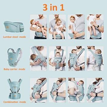 TOPERSUN Babytrage All In One Kindertrage Bauchtrage 3-Positionen Rückentrage Ergonomische Babytragetasche Baby Trage verstellbar für Neugeborene Babys Kleinkind von 0 bis 36 kg Blau - 7