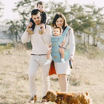 TOPERSUN Babytrage All In One Kindertrage Bauchtrage 3-Positionen Rückentrage Ergonomische Babytragetasche Baby Trage verstellbar für Neugeborene Babys Kleinkind von 0 bis 36 kg Blau - 8