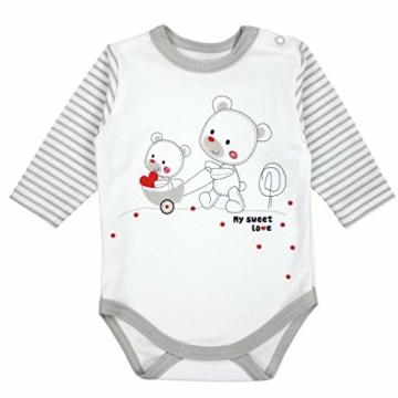TupTam Baby Unisex Bekleidungsset mit Aufdruck 3 TLG, Farbe: Streifenmuster Grau/Bärchen Herz, Größe: 62 - 2