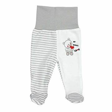 TupTam Baby Unisex Bekleidungsset mit Aufdruck 3 TLG, Farbe: Streifenmuster Grau/Bärchen Herz, Größe: 62 - 3