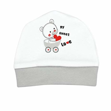TupTam Baby Unisex Bekleidungsset mit Aufdruck 3 TLG, Farbe: Streifenmuster Grau/Bärchen Herz, Größe: 62 - 4