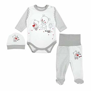 TupTam Baby Unisex Bekleidungsset mit Aufdruck 3 TLG, Farbe: Streifenmuster Grau/Bärchen Herz, Größe: 62 - 1