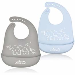 Viedouce Baby Lätzchen,Wasserdicht Silikon Babylätzchen mit 6 verstellbaren Tasten,Baby Dribble Lätzchen für Jungen Mädchen,Super weich & leicht abwischen (2er Pack) - 1