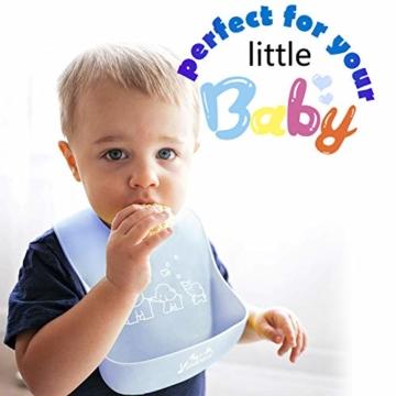 Viedouce Baby Lätzchen,Wasserdicht Silikon Babylätzchen mit 6 verstellbaren Tasten,Baby Dribble Lätzchen für Jungen Mädchen,Super weich & leicht abwischen (2er Pack) - 4