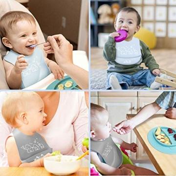 Viedouce Baby Lätzchen,Wasserdicht Silikon Babylätzchen mit 6 verstellbaren Tasten,Baby Dribble Lätzchen für Jungen Mädchen,Super weich & leicht abwischen (2er Pack) - 6