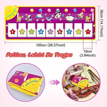 WEARXI Baby Spielzeug Ab 1 2 3 4 5 6 Jahre Mädchen Junge - Kinderspielzeug Babyspielzeug Lernspielzeug Kleinkind Spielzeug, Tanzmatte, Klaviermatte, Musikmatte, Keyboard Kinder Spielsachen Geschenke - 4