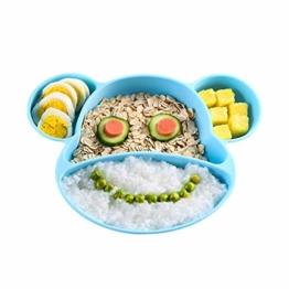 YOOFOSS Baby Teller Silikon Schalen Baby Kinder Tischset Rutschfest Babyteller mit Saugnäpf BPA-frei Babyteller Mikrowelle und Spülmaschinenfest für die Meisten Hochstuhl Tabletts - 1