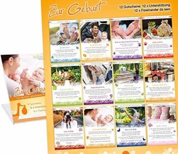 Zur Geburt » Das Geschenk zur Geburt für die Eltern. 12 Geschenkgutscheine mit 12 liebevollen Aufmerksamkeiten. 12 x Unterstützung schenken. 12 x füreinander da sein. Die Geschenkidee zur Geburt. - 6