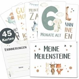 45 Baby Meilensteinkarten Lino für Junge und Mädchen Meilenstein Karten Set + Geschenkbox schöne Geschenkidee zur Geburt, Taufe oder Babyparty (Tiere, weiß, Deutsch) - 1