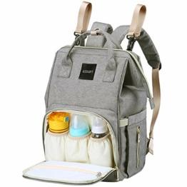 AISPARKY Wickelrucksack, Multifunktional Baby Wickeltasche Rucksack Wasserdicht Reisen Tasche Für Mama und Papa,Große Kapazität,Langlebig und Stilvolle Babytasche für Säuglingspflege,Grau - 1