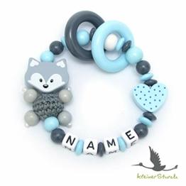 Baby Greifling Beißring geschlossen mit Namen - individuelles Holz Lernspielzeug als Geschenk zur Geburt Taufe - Jungen Motiv Fuchs und Herz in babyblau - 1