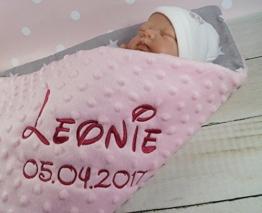 Babydecke mit Namen und Datum bestickt MINKY Baumwolle Füllung (75 x 100 cm, Sterne 2 - Hellrosa) (900101) - 1