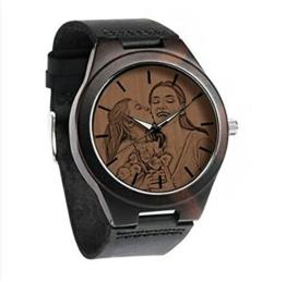 Benutzerdefinierte Vatertagsuhr mit Foto Herren Ebenholz Foto Uhr Bandname Gravierte Armbanduhr mit Bild Personalisierte Vatertagsfoto Geschenk für Vater Ehemann(Schwarz-Männer 45mm) - 1