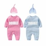 culbutomind Baby Zwillinge Baby Bodys Doppel Ärger süßes Outfit mit Hut Baby Pyjamas Zwillinge Geschenk(Pulverblau 6M) - 1