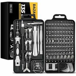 DAZAKA Feinmechaniker Schraubendreher Set S2 135-teilig, Mini Reparatur Werkzeug Set für Elektronik, Handy, Laptop, Uhren, Kamera, Handwerker Geschenk für Mann, Papa, Freund - 1