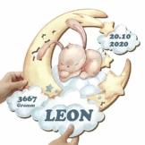 Elbeffekt Häschen Wandlampe aus Holz - personalisierbares Geschenk - Geburtsgeschenk Mädchen personalisierte Geschenke Baby Taufgeschenk - Baby Namensgeschenke aus Echtholz - 1