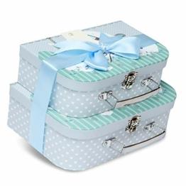 Geschenkboxen für Neugeborene – 2 blaue Etuis mit Satinband und Nachrichtenanhänger für Neugeborene - 1